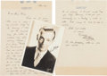Movie/TV Memorabilia:Autographs and Signed Items, A Fred Astaire Handwritten Letter and Signed Black and WhitePhotograph, 1941....