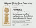 "Movie/TV Memorabilia:Documents, A Peter Fonda Golden Globe Nomination Certificate for ""TheTempest.""..."