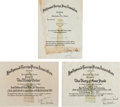 Movie/TV Memorabilia:Documents, A Group of Golden Globe Nomination Certificates, 1960s-1980s....(Total: 3 Items)