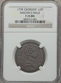 Colonials: , 1778 1/2P Machin's Mills Halfpenny Fine 15 NGC. NGC Census: (2/3). PCGS Population (0/10). ...