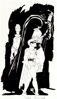 Frank Miller The Dark Knight Returns #4 Preliminary Study Illustration Original Art (DC, 1986).... (Total: 2 Original Ar...