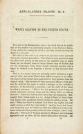 Books:Americana & American History, [Anti-Slavery Tracts]. White Slavery in the United States.New York: American Anti-Slavery Society, [n.d., ca. 1860]...