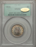 Liberty Nickels: , 1906 5C MS65 PCGS. Gold CAC. PCGS Population (119/18). NGC Census:(87/6). Mintage: 38,613,724. Numismedia Wsl. Price for p...