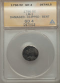 Early Half Dimes, 1796 5C LM-1 -- Damaged, Clipped, Bent -- ANACS. Good 4 Details.NGC Census: (0/68). PCGS Population (1/78). Mintage: 10,23...