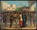 """Books:Prints & Leaves, [African American]. [WWI] Original Lithograph, Return of theColored Troops. [N.p., n.d.] Measures 16"""" x 20"""". Some c..."""