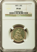 Proof Seated Quarters: , 1872 25C PR64 NGC. NGC Census: (49/41). PCGS Population (38/26).Mintage: 950. Numismedia Wsl. Price for problem free NGC/P...