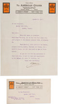 Golf Collectibles:Miscellaneous, 1912 Typed Letter Signed By Walter Travis....