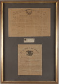Miscellaneous:Ephemera, [Battle of Gettysburg]. Coat Button and Two Related Documents....