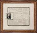 Autographs:U.S. Presidents, John Adams Four Language Ship's Paper Signed....