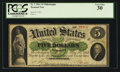 Large Size:Demand Notes, Fr. 2 $5 1861 Demand Note PCGS Very Fine 30.. ...