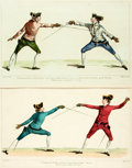 "Books:Prints & Leaves, [Fencing]. Pair of Original Hand-Colored Engravings DepictingFencing. 1763. One 18.5"" x 12""; the other slightly smaller. So..."