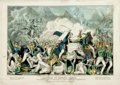 "Books:Prints & Leaves, [Americana]. Original Hand-Colored Lithograph, Battle of BuenaVista. New York: James Baillie, 1848. Measures 14"" x ..."
