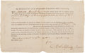 Autographs:Statesmen, [Revolutionary War]. Matthew Tilghman Military Appointment Signed...
