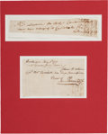 Autographs:Military Figures, [Revolutionary War]. Joseph Palmer and Nathan Hale Documents Signed....