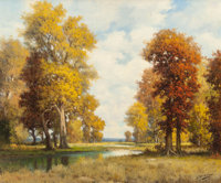 ROBERT WILLIAM WOOD (American, 1889-1979) Autumn Colors Oil on canvas 25 x 30 inches (63.5 x 76.2