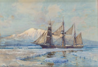 SYDNEY LAURENCE (American, 1865-1940) Whaling Ship in Alaska Watercolor, tempera and gouache on pape