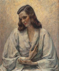 Fine Art - Painting, American:Modern  (1900 1949)  , GEZA KENDE (Hungarian/American, 1889-1952). Portrait of anIngénue, 1944. Oil on canvas. 30 x 24-3/4 inches (76.2 x62.9...