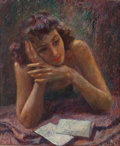 Fine Art - Painting, American:Modern  (1900 1949)  , GEZA KENDE (Hungarian/American, 1889-1952). Love Letter,1948. Oil on canvas. 24 x 20 inches (61.0 x 50.8 cm). Signed an...