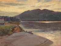 SYDNEY LAURENCE (American, 1865-1940) Quiet Riverbend Oil on canvas laid on board 8-3/4 x 12 inch