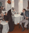 Fine Art - Painting, American:Modern  (1900 1949)  , TOM LOVELL (American, 1909-1997). Jovial Restaurant Scene,1941. Oil on canvas. 34 x 30 inches (86.4 x 76.2 cm). Signed ...