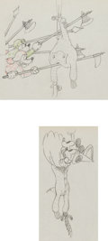 Animation Art:Production Drawing, Ye Olden Days Mickey and Minnie Mouse Production DrawingGroup Animation Art (Disney, 1932).... (Total: 2 Original Art)