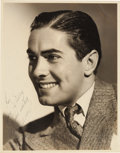 Movie/TV Memorabilia:Autographs and Signed Items, A Tyrone Power Black and White Signed Photograph, 1938....