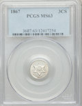 Three Cent Silver, 1867 3CS MS63 PCGS....