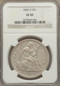 Seated Dollars: , 1860-O $1 XF45 NGC. NGC Census: (49/686). PCGS Population(89/1005). Mintage: 515,000. Numismedia Wsl. Price for problemfr...