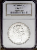 Coins of Hawaii: , 1883 $1 Hawaii Dollar AU55 NGC. A pleasing light gray example withsharp design details. Near...