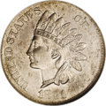 Errors: , 1881 1C Indian Cent--Struck on a Three Cent Nickel Blank--MS64 NGC.1.83 grams. The portrait is surprisingly sharp aside fr...