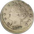 Errors: , 1886 5C Liberty Nickel--Struck 10% Off Center--XF45 PCGS. Struck moderately off center toward 1:30. Stars 7 to 9 are tight ...