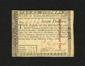 Colonial Notes:Massachusetts, Massachusetts May 5, 1780 $7 Very Fine-Extremely Fine. Anapproximate one inch internal tear is located on this note. It is...