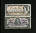 "Canadian Currency: , BC-24c $10 1937 Fine. BC-43b $100 1954 Fine-Very Fine.. The $100note has the ""Modified Portrait"" and it is the first ti... (Total:2 notes)"