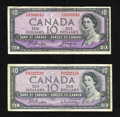 Canadian Currency: , Canada $10 Bank of Canada 1954 Ottawa Two Examples. One example isfrom the D-V block and is signed Beattie/Rasminsky and th...(Total: 2 notes)