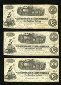 Confederate Notes:1862 Issues, T40 $100 1862 Three Examples. This trio grades Fine-Very Fine andis two notes shy of a consectuive run. They also carry... (Total: 3notes)