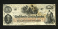 "Confederate Notes:1862 Issues, T41 $100 1862. This especially bright note shows some waterstaining on back as well as an ""Interest Paid At Raleigh, N.C."" ..."