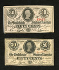 Confederate Notes:1863 Issues, A pair of T63 50 Cents 1863. The first grades Fine, while the second is About Uncirculated with remnants of a previo...