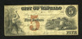 """Obsoletes By State:Iowa, Wapelo, IA- City of Wapello $5 July 20, 1857. This is the firsttime we have handled this denomination from this issuer. A """"..."""