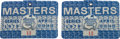 Golf Collectibles:Miscellaneous, 1979 Masters Tournament Series Badges Numbers 11 & 12 Lot of 2....