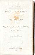 Books:Americana & American History, [Author Unknown]. Annual Report of the Commissioner of Patentsfor the Year 1847. Washington: Wendell and Van Benthu...