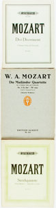 Books:Music & Sheet Music, [Sheet Music]. Mozart. Group of Three Volumes of Mozart SheetMusic. Various publishers and dates. Quartos. Publisher's orig...