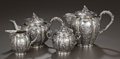 Silver Holloware, American:Tea Sets, A FOUR PIECE SILVER-PLATED TEA SERVICE, Maker unidentified, 20thcentury. Marks: S-S-H (in quatrefoil). 5-3/4 inches hig...(Total: 4 Items)