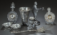 AN EIGHT PIECE SILVER AND SILVER-PLATED ASSORTMENT OF TABLE ARTICLES, Various makers, 20th century Marks to bonbon
