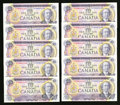 Canadian Currency: , BC-49d $10 1971 10 Consecutive Examples. BC-57a $10 1989 10 Consecutive Examples. ... (Total: 20 notes)