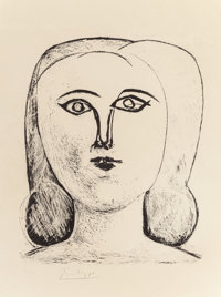 PABLO PICASSO (Spanish, 1881-1973) Tête de Jeune Fille, 1946 Lithograph on Rives paper 12-5/8 x 1