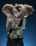Lapidary Art:Carvings, LABRADORITE ELEPHANT with BRIGHT BLUE SCHILLER. Artisan Crafted in China. Stone Source: Madagascar. ...