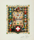 "Autographs:Artists, Arthur Szyk. SIGNED Title Page Designed by Szyk. 1948. Measures 10""x 11.5"". Some edgewear. Very good. . ..."