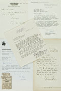 Autographs:Authors, Academics. Group of Autograph and Typed Letters Signed. Varioussizes and dates. Very good. . ...