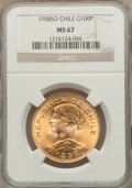 Chile, Chile: Republic gold 100 Pesos 1958-So MS67 NGC,...