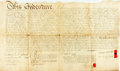 "Books:World History, Vellum Land Indenture in the Reign of George III. March 7, 1790. Signed and sealed. Measures 28.5"" x 16"". Folded, with creas..."